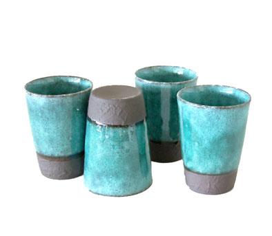 Set di 4 mini tazze turchesi - Sopha diffusion vendita Erboristeria Erbetue